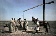 Hungary --- Cowboys in sheepskin and a horse center around a well in the puszta --- Image by © Hans Hildenbrand/National Geographic Society/Corbis Hut Images, National Geographic Society, Heart Of Europe, Principles Of Art, Renaissance Art, Op Art, Historical Photos, Old Photos, Art History