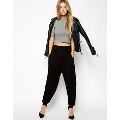 ASOS Harem Pants In Jersey (205 NOK) ❤ liked on Polyvore featuring pants, black, jersey pants, elastic waist pants, rayon pants, stretch waist pants and harem pants