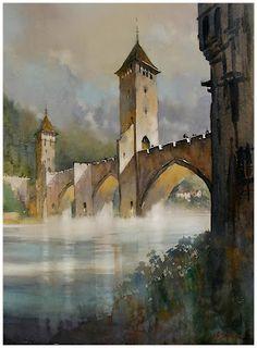 pont valentré - cahors, france  thomas w schaller - watercolor  30x22 inches