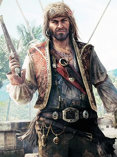 "Pirata do Mês - John ""Calico Jack"" Rackham Charles Vane, Character Portraits, Character Art, Character Design, Sea Pirates, Pirates Of The Caribbean, Larp, Assassin's Creed Black, Pirate Garb"