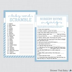 Baby Shower Games Package in Blue  Six Printable Games