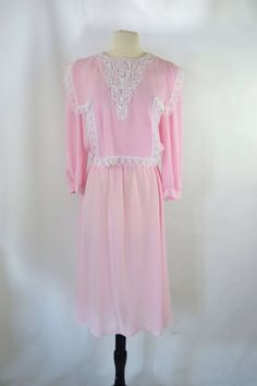 759540a834 1980s Pink and White Tatted Lace Bib Sheer Long Sleeve Dress by Sheena