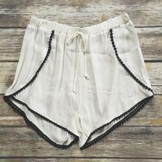 White Pom Pom Trim Short