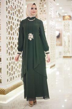 Beli Dantel Detaylı Yeşil Tesettür Abiye Elbise