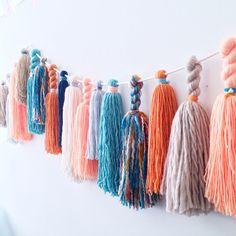 Indigo Peach Luxe Fiber Yarn Tassel Garland by StudioMucci on Etsy