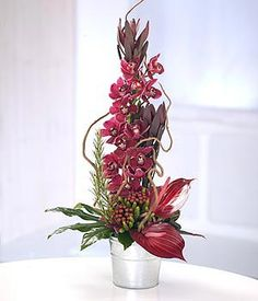 exotic modern tall container arrangement featuring red Cymbidium Orchids and red Anthurium, leucadendron (protea),curly willow