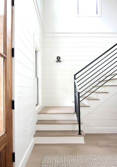 Stair Treads One of the challenges we encountered when building was finding a st Stairs Ideas building challenges encountered finding Stair Treads Farmhouse Stairs, Wood Stairs, Staining Stairs, Wood Stair Treads, Entry Stairs, Staircase Design, Loft Staircase, Foyer Design, Staircase Ideas