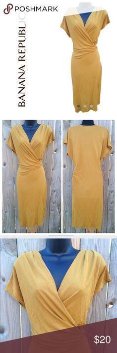 BANANA REPUBLIC MUSTARD RUCHE DRESS SMALL BANANA REPUBLIC! Size small. Mustard ruche dress. Perfect for fall! Banana Republic Dresses