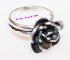 Silpada Israel Artisan Rose Flower Oxidized Sterling Silver Ring Size 6
