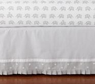 organic cotton elephant sheets and gray  Crib Bed Skirt <3
