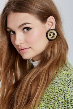 Vintage Chanel Logo Circle Earrings