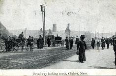 Around the turn of the century, postcards were often used for documenting history.This postcard photograph is a view from Broadway looking south after the Great Chelsea Fire of 1908.