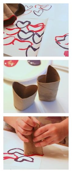 Recycled Crafts - Make Valentines Day cards. Love the imperfect hearts!