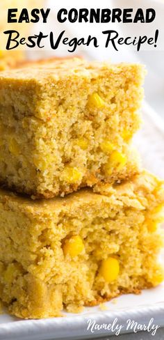This is the BEST Vegan Cornbread Recipe! Guess what? It's made with corn and creates a delicious, down-home style cornbread. Serve homemade cornbread with soup, stews and chili. Egg free cornbread is… Best Cornbread Recipe, Gluten Free Cornbread, Homemade Cornbread, Sweet Cornbread, Cornbread Recipe With Canned Corn, Vegan Cornbread Stuffing Recipe, Gluten Free Corn Muffins Recipe, Homemade Stuffing, Corn Recipes