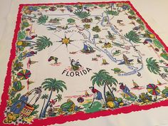 Vintage Florida tablecloth WWII 1940s red blue yellow Floridiana souvenir Mid Century kitsch