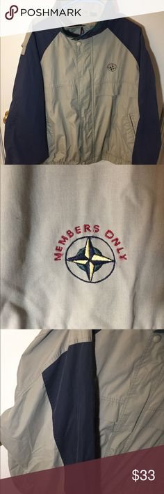 Rare Vintage Members Only Mariner Jacket (90s) SAME OR NEXT DAY SHIPPING! OPEN TO OFFERS! Retro looking, rare mariner jacket by Members Only. 9/10 Condition. Features light khaki, navy blue, and pine green colors. Jacket sleeves are both light khaki and navy blue as shown in picture. Features authentic embroidery by the left side of the chest. Has inside pockets and is great for layering with hoodies or sweatshirts.  Measurements: 26 inches long, 26 inches wide, and 31 inches from the top of…