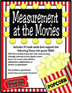 Includes 20 task cards that support Texas 4th Grade Math TEKS 4.8C (solve problems that deal with measurements of length, intervals of time, liquid volumes, mass, and money using addition, subtraction, multiplication, or division as appropriate).Also includes a gameboard, an answer key, and an answer document.