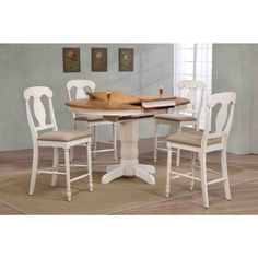 Iconic Furniture Company 42x42x60 Antiqued Caramel/Biscotti Napoleon Back Upholstered Counter Height 5-Piece Dining Set (5-Piece Napoleon Upholstered Counter Set), Beige