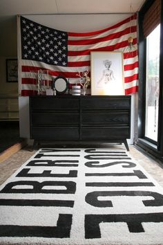 Americana - american flag hung on wall on top of black painted dresser and typographical black and white rug--my sons room Room Design, Decor, Apartment Decor, House Tours, Home, Dorm Room Designs, Decorating Your Home, Flag Decor, Home Decor