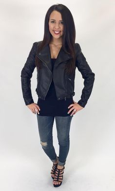 Show details for Night On the TOWN faux Leather Jacket.