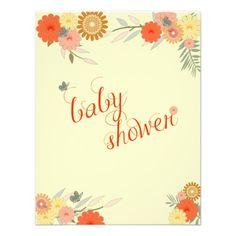 Autumn Floral Baby Shower Invitation