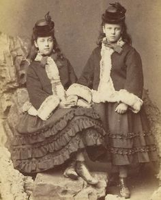 CDV Victorian Sisters in Matching Outfits Holding Hands by R Slingsby Lincoln