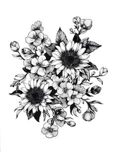 Floral flower drawing black and white illustration pinterest brilliant ink mightylinksfo