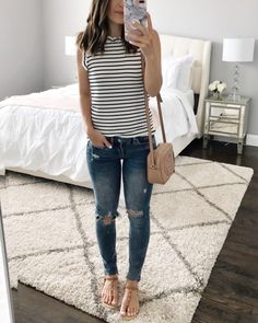 c2ac59b318 Casual Summer jeans outfit | Stripe tank, ripped jeans, sandals, & Gucci  crossbody