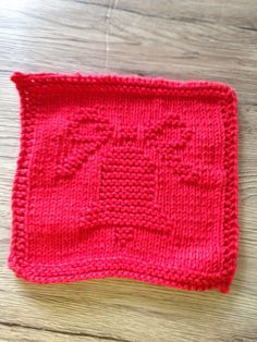 Red bell knit dishcloth, Christmas knitted washcloth, red cotton dishrag by…