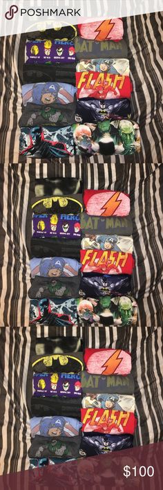 13 Marvel D.C Comics 13 Tshirts Bundle This listing is for 13 Tshirts DC Marvel Characters. They are all in great condition. Pre-owned. I'm selling this on eBay too. D.C Comics Marvel Characters Shirts Tees - Short Sleeve