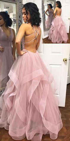custom drsses Blush Pink Ruffles Ball Gown Criss-Cross Backless Prom Dresses V-neck Long Prom Dress Tulle Evening Dress Formal Gowns Hot Prom Gowns Prom Dresses Long Pink, Straps Prom Dresses, Open Back Prom Dresses, Backless Prom Dresses, Ball Dresses, Ball Gowns, Dress Prom, Pastel Prom Dress, Dresses Dresses