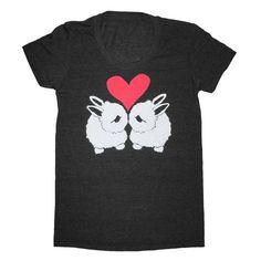 Black eared bunny love on a tee shirt.