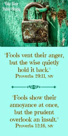 Don't Fool Yourself. This 1-minute devotion addresses the sin of anger and the way we can avoid such foolishness and become wise in the Lord. Proverbs is a book full of wisdom about this subject.