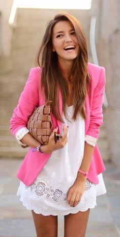 Love the pink blazer with white