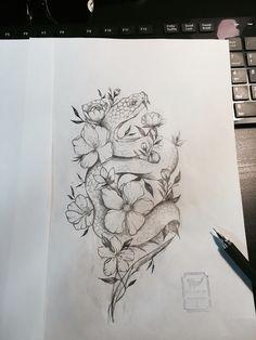 Flower Snake Tattoo Design   From Blue Whale Ink Design by _park_tae_  Work In Korea, Seoul, Hongdae Kakao: taemin0509 Insta: _park_tae_ Email: hopetaemin@naver.com Phone: 010.9922.2511 #Bluewhaleink