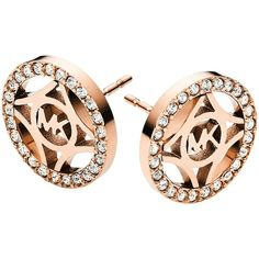 Michael Kors Pavé Monogram Stud Earrings featuring polyvore, fashion, jewelry, earrings, steel earrings, pave stud earrings, steel jewelry, monogram earrings and rose gold tone earrings