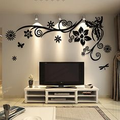 The Pitfall of Couple Tree Wall Murals for Living Room Sofa Backdrop Tv Wall Background - lowesbyte Wall Painting Decor, Tv Wall Decor, Wall Decor Design, Wall Stickers Home Decor, Ceiling Design, Mirror Stickers, Diy Wall, Wall Decorations, Living Room Decor