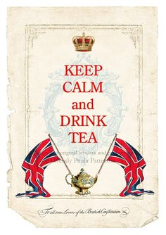 """heartbeatoz:"""" Keep Calm and Drink Tea Union Jack Art Print by CafeBaudelaire"""" Tea Quotes, Tea And Books, Keep Calm And Drink, Cuppa Tea, Tea Art, Fun Cup, My Cup Of Tea, Relax, Union Jack"""