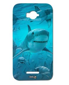 CUSTODIA COVER CASE SQUALI BRANCO FONDO OCEANO MARE SEA PER ALCATEL POP C7