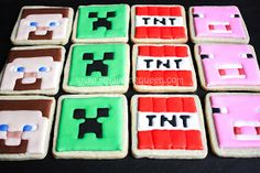 Minecraft Cookies~                   By The Royal Icing Queen, pink, red tnt, green, Brown