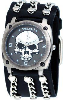 a026a1cf7c5 Nemesis Men's Wide Leather Round Skull Cuff Watch. San Diego Harley-Davidson