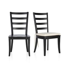 Harper Black Side Chair and Sand Cushion  | Crate and Barrel