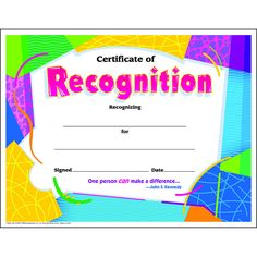 certificate of recognition colorful