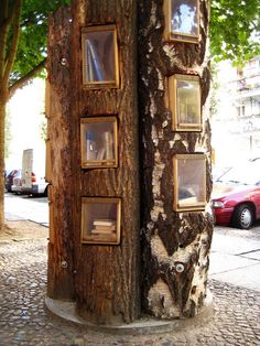 Book Tree © oona13, (Photographer. Berlin, Germany) via flickr. Book Shelves. Public Library. Outdoors. Installation Art.