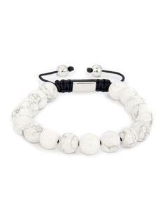 925 Sterling Silver & White Howlite Bracelet from Northskull Mens Bracelet Fashion, Men's Fashion Jewelry, Mens Gold Bracelets, Beaded Bracelets, Paracord, Stone Bracelet, Women's Accessories, Rock Watch, Raven