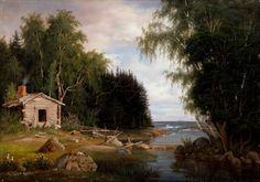 Magnus von Wright (1805-1868) Rantamaisema, aihe Lehtisaaresta / Beach Landscape, Leaf motif island 1867 - Finland