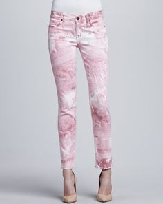Skinny Ankle Peg Jeans, Pink Marble by Rich and Skinny at Neiman Marcus.