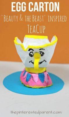 Egg Carton 'Beauty & the Beast' Chip inspired teacup craft. Kid's character inspired arts and crafts. Toddler Crafts, Preschool Activities, Preschool Classroom, Disney Crafts For Kids, Preschool Projects, Craft Kids, Kids Fun, Summer Kids, Classroom Ideas