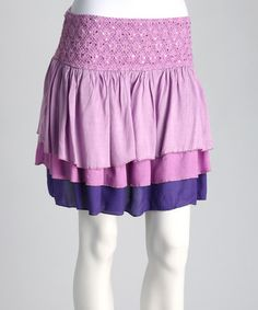 Take a look at this Purple & Lavender Tiered Skirt by Swinging Skirts Collection on #zulily today!