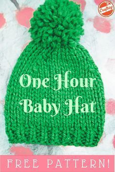 A one hour baby hat project? Even better — the pattern is FREE. A one hour baby hat project? Even better — the pattern is FREE. Baby Hat Knitting Patterns Free, Baby Hat Patterns, Baby Hats Knitting, Loom Knitting, Free Knitting, Knitted Hats, Crochet Patterns, Free Pattern, Knitting For Charity